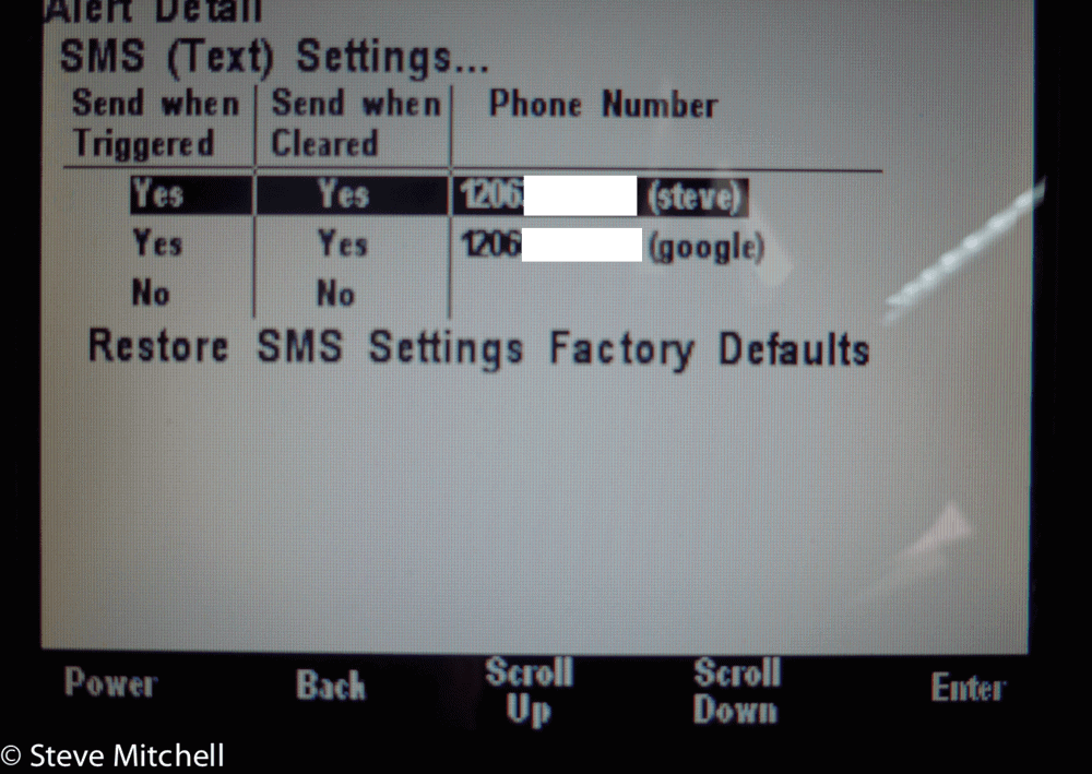 maretron sms settings screen