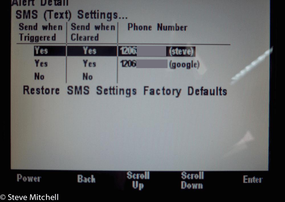 maretron sms settings screen
