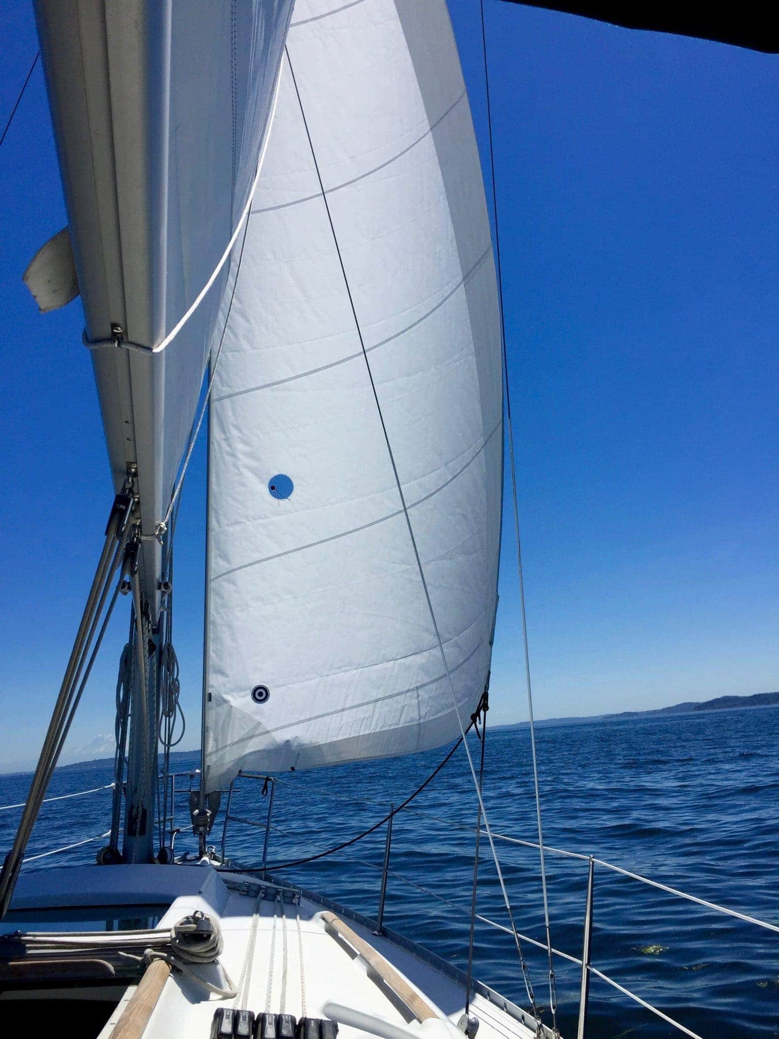 Sailing down the channel on the east side of Bainbridge towards Winslow