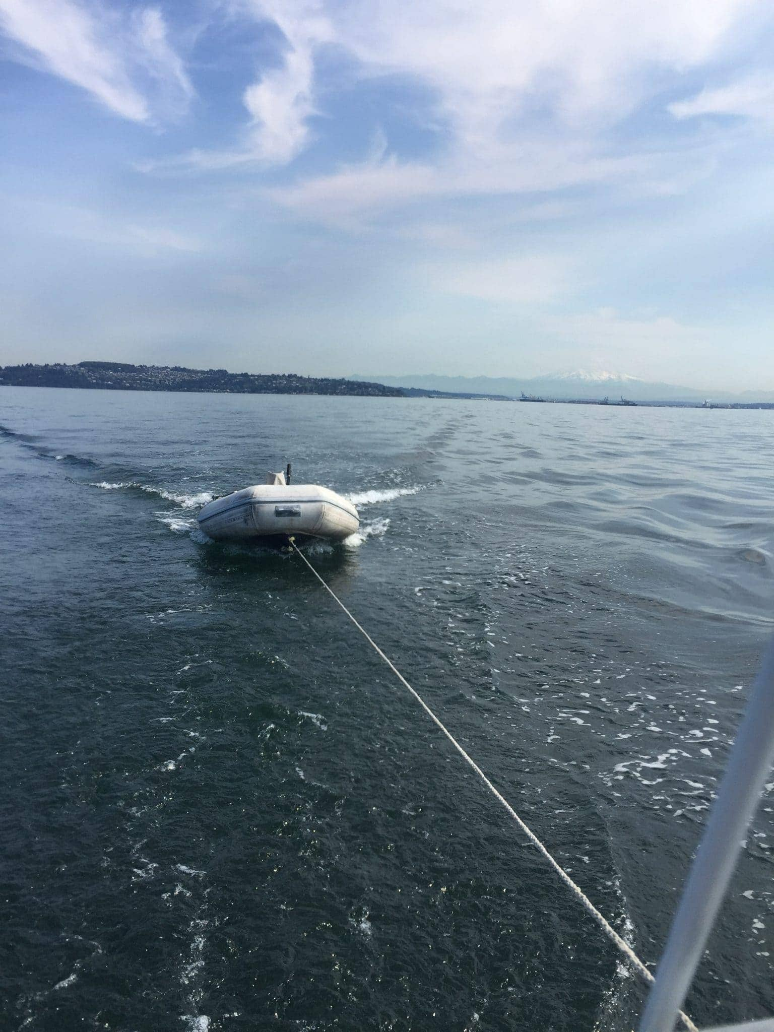 Our new dinghy in tow