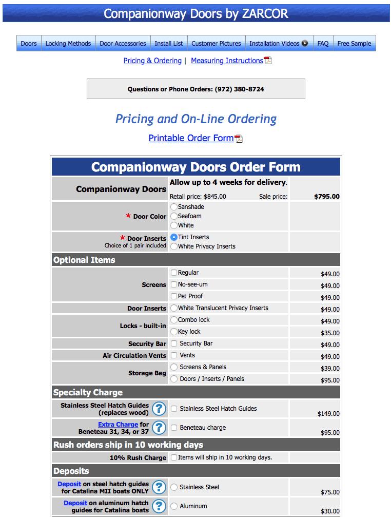Zarcor companionway doors order form