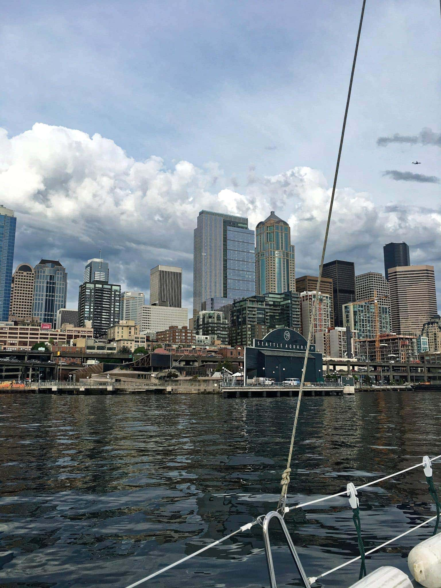 downtown seattle and aquarium from the sailboat