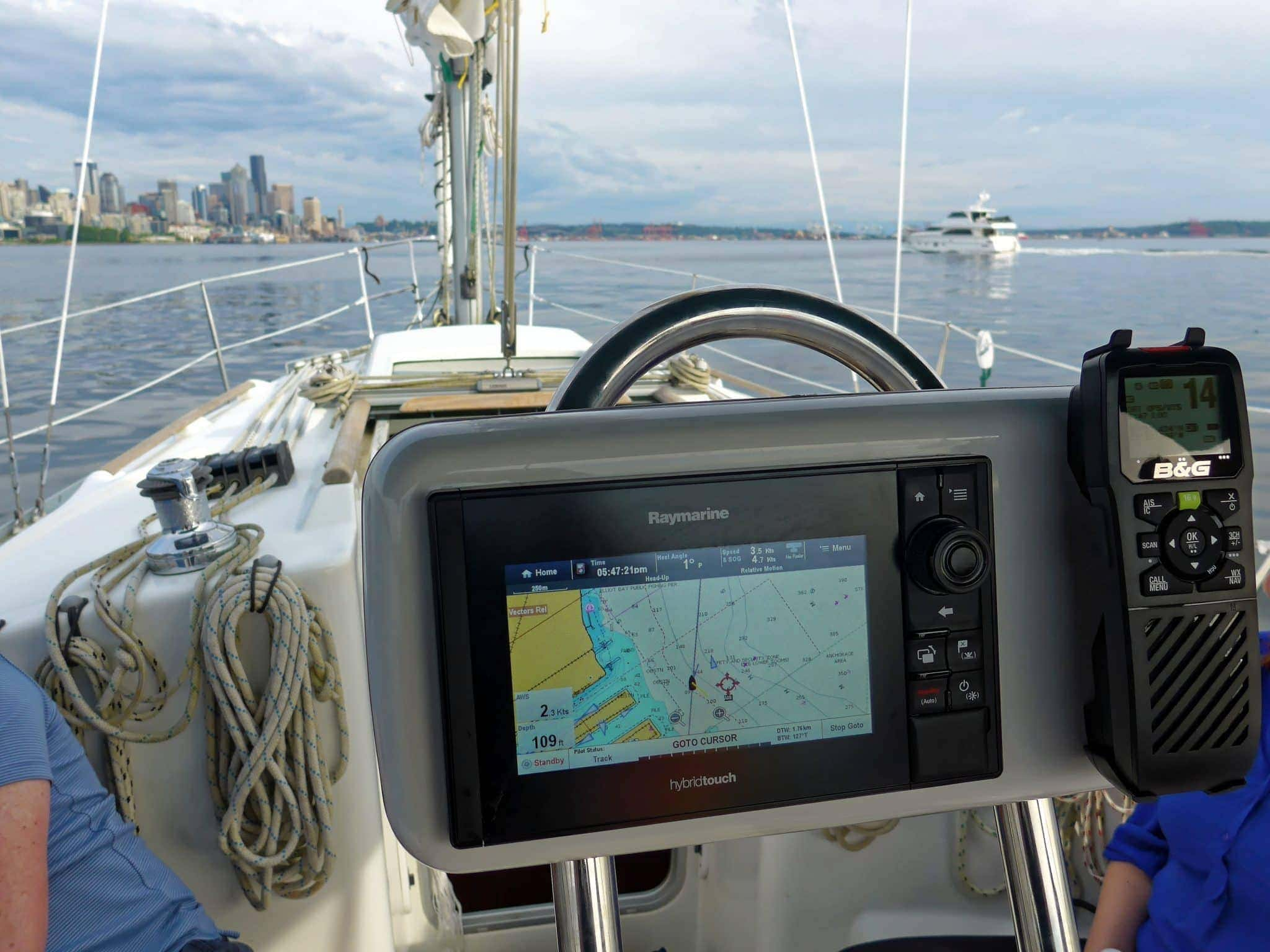 grace navpod with motor boat and seattle in the distance