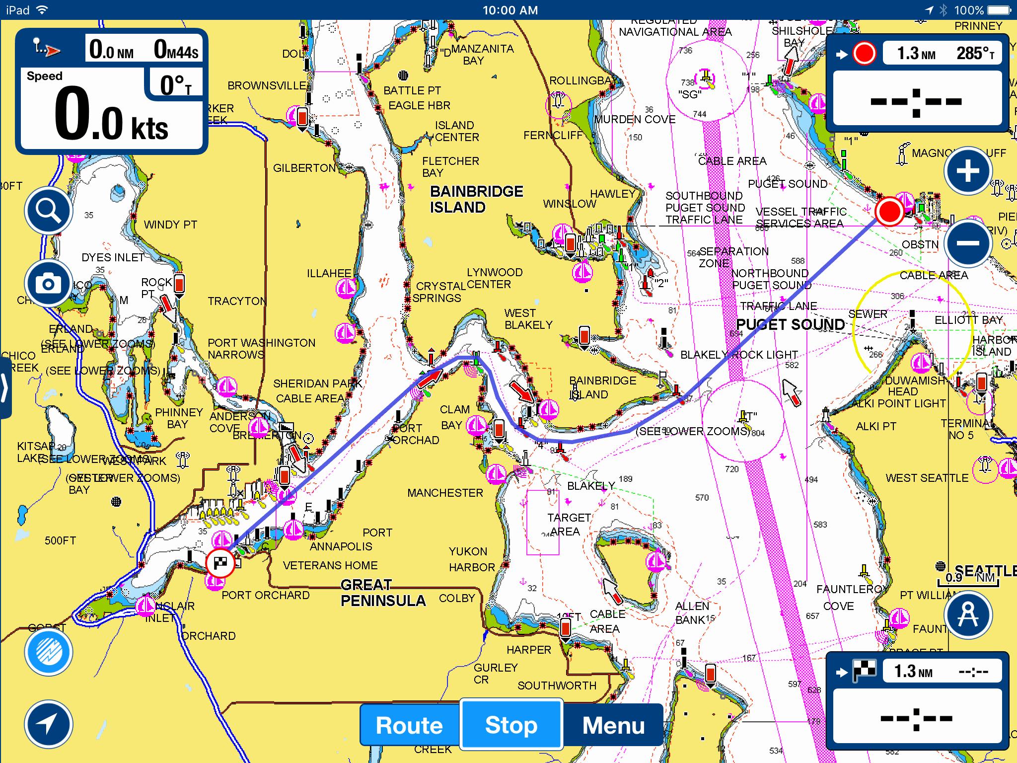 navionics trip planning to port orchard
