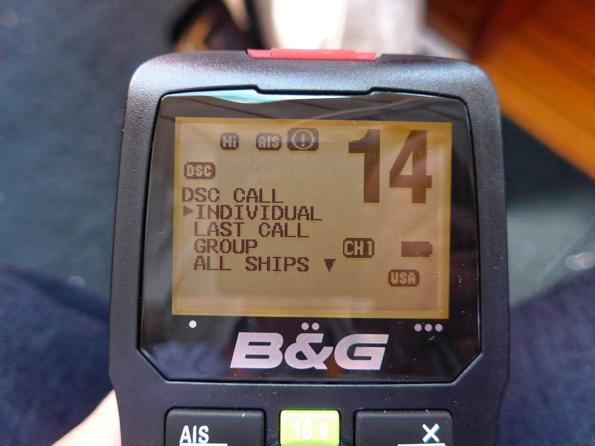 B&G H50 wireless VHF handset menus