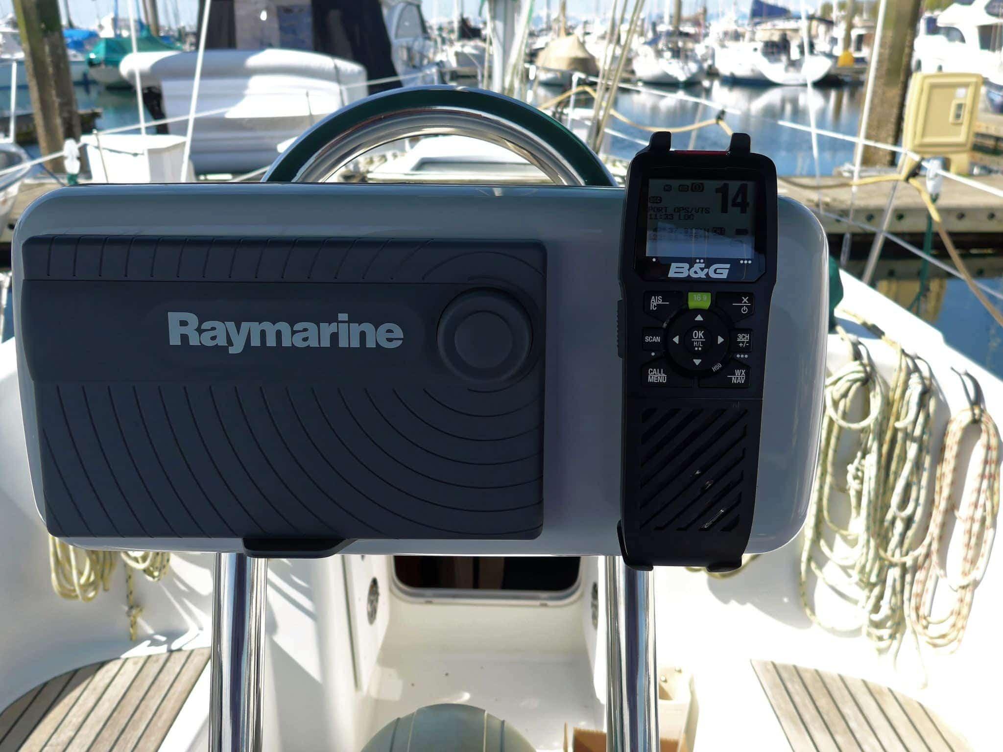B&G H50 wireless VHF handset mounted on NavPod near Raymarine eS78