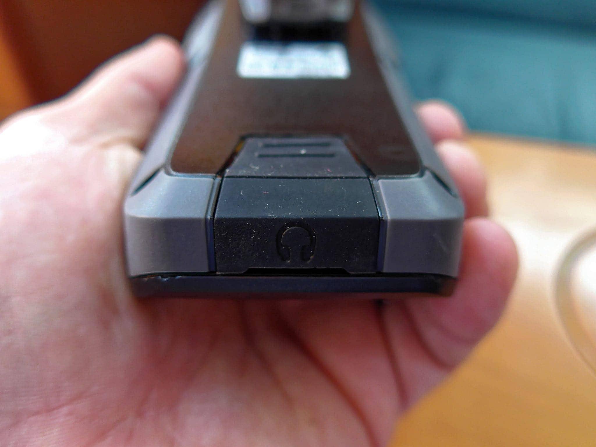 Bottom showing headphone port