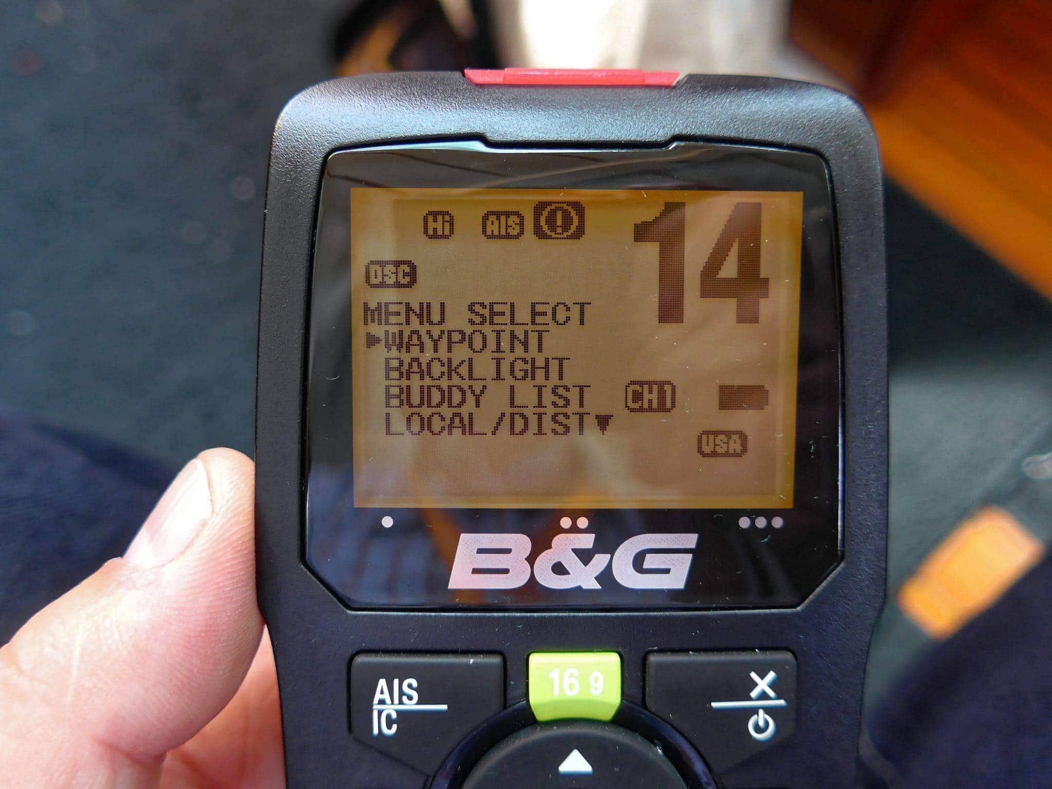 B&G H50 wireless vhf handset menu options 2