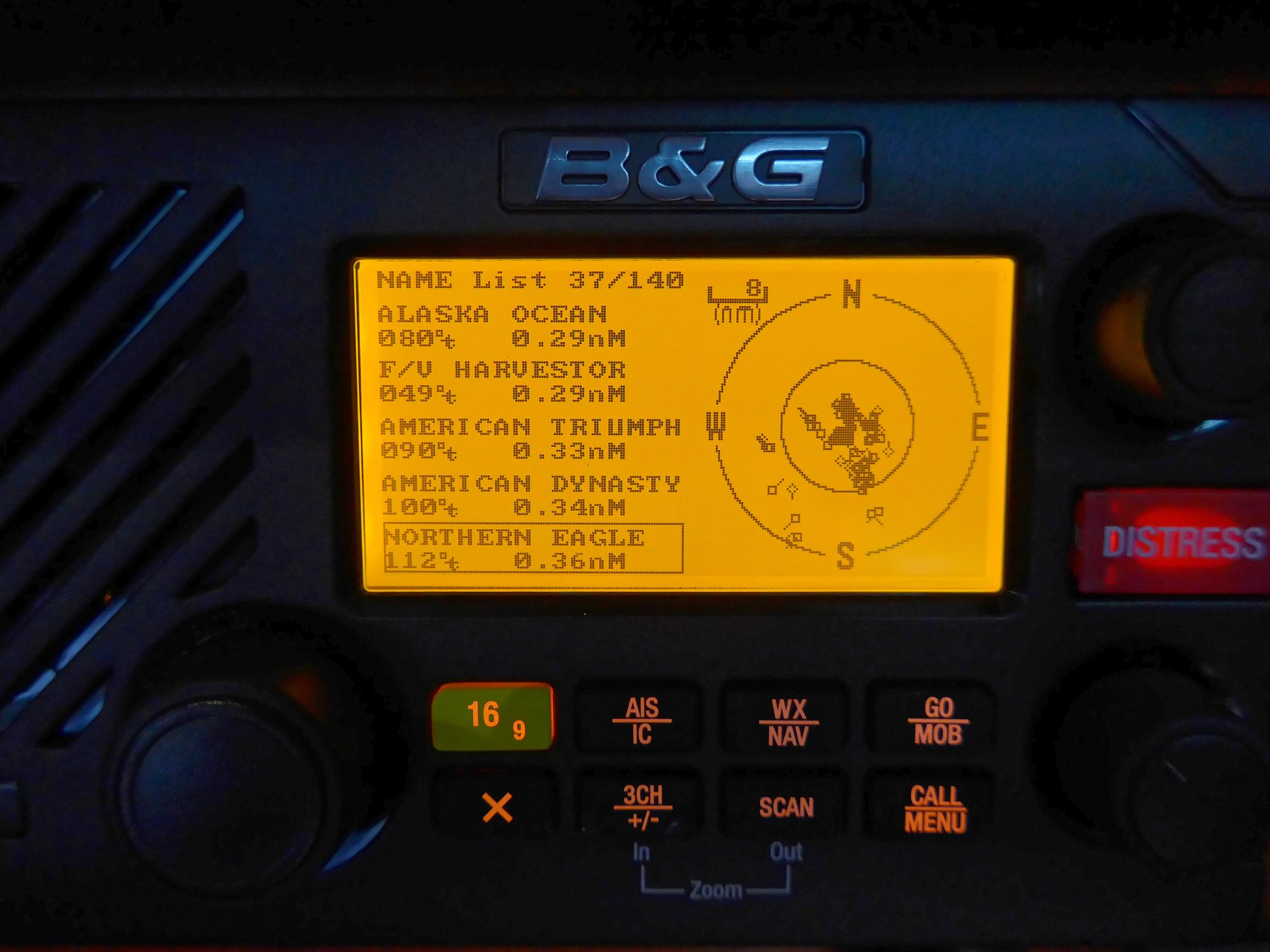 B&G V50 VHF AIS target list and map