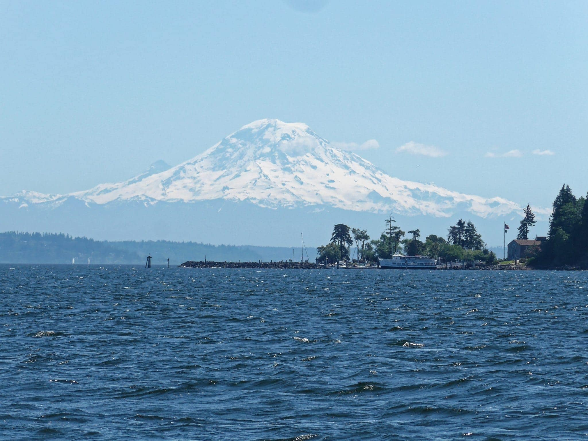 Blake Island with Argosy boat and Mt. Rainier