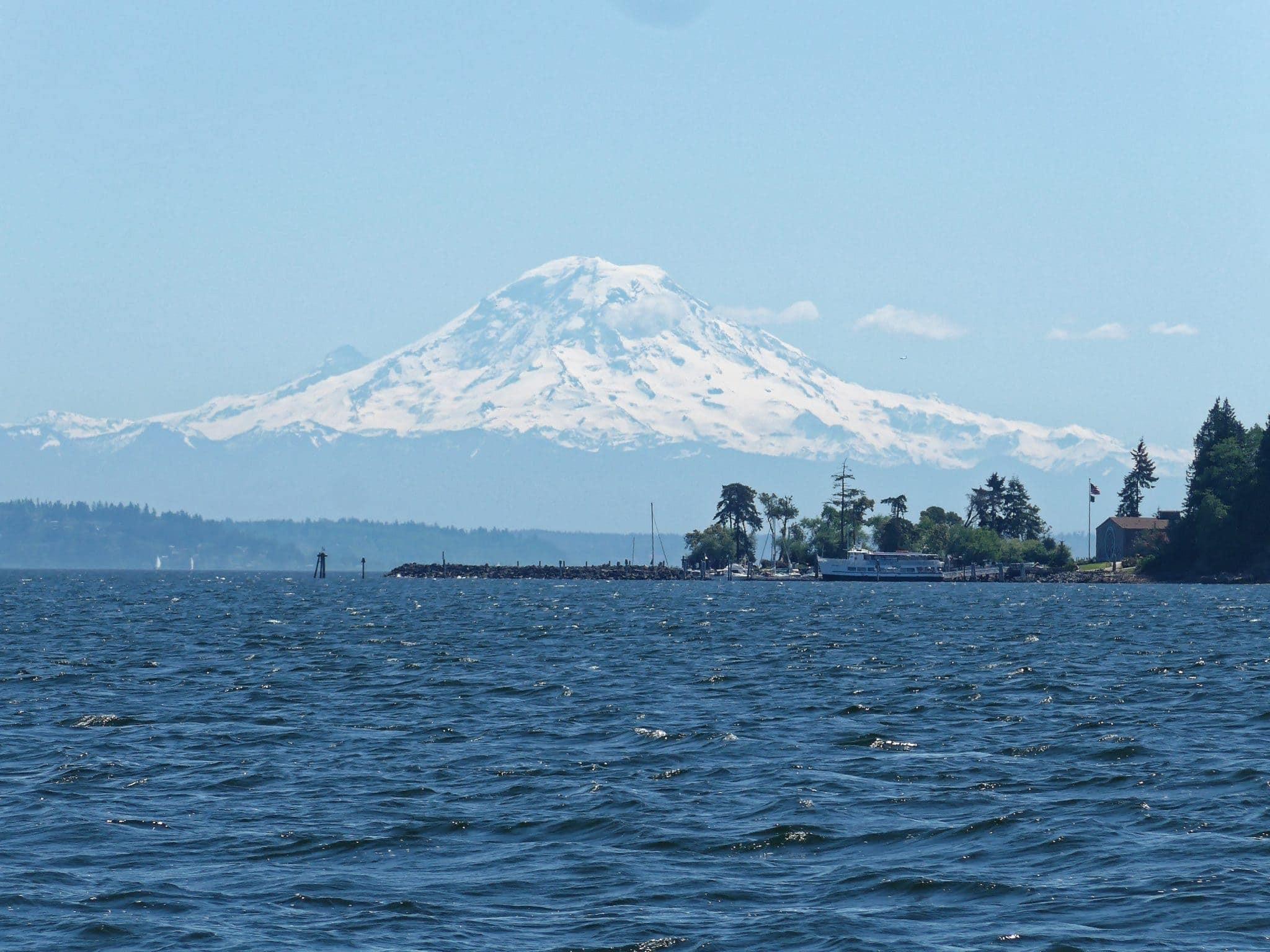 Blake Island with Argosy boat and Mt. Rainier