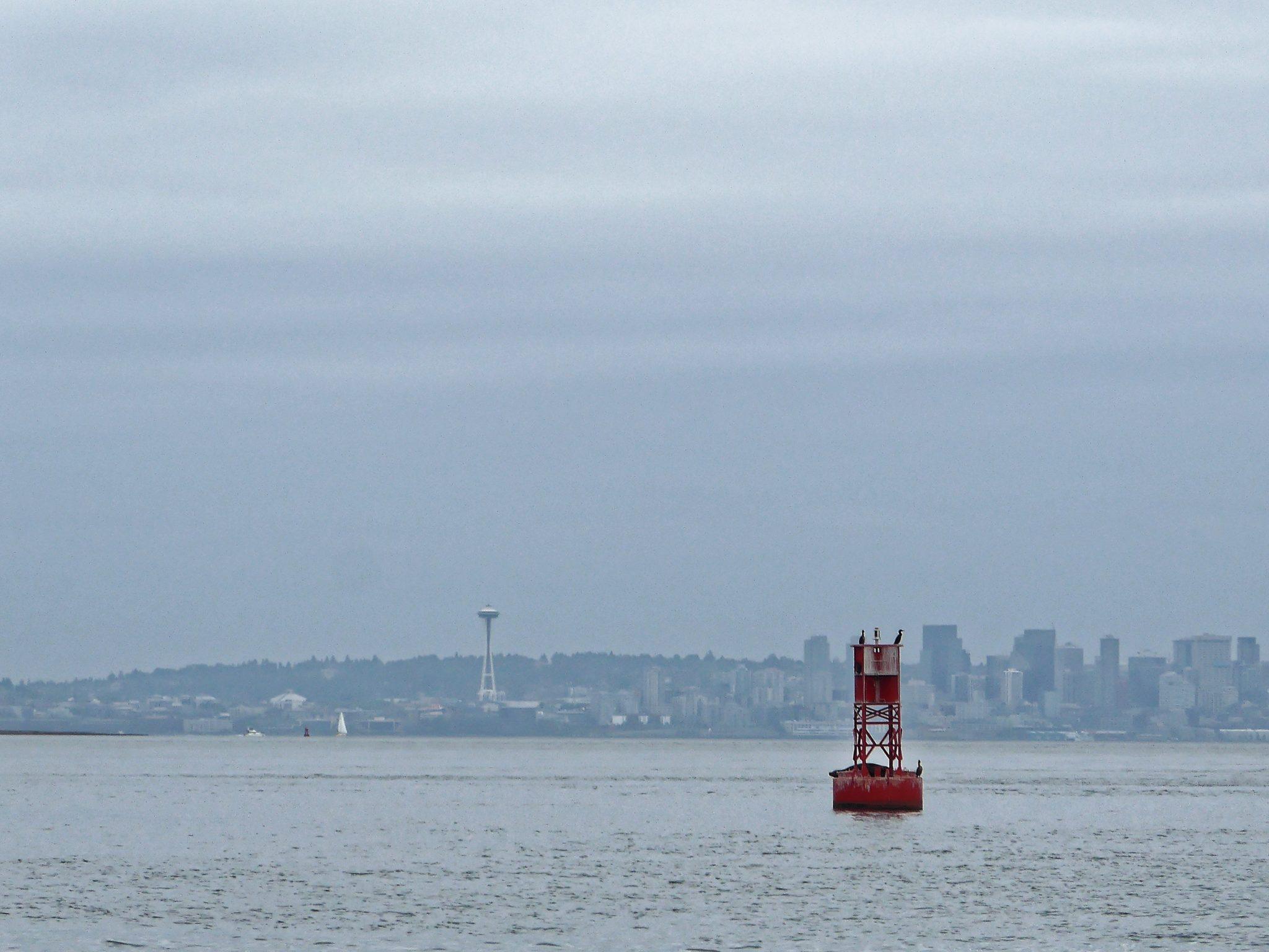 Buoy and Seattle skyline near Bainbridge Island