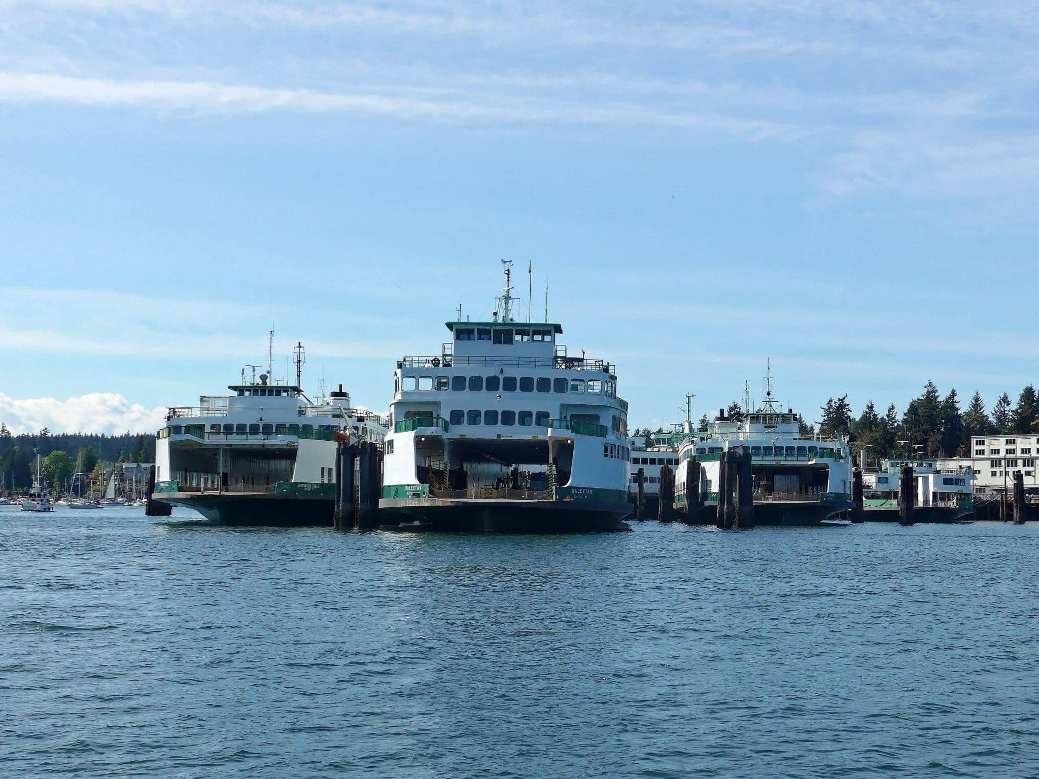 So many ferries! Pictured here are the Hiyu, Tillikum, Kaleetan and Evergreen State