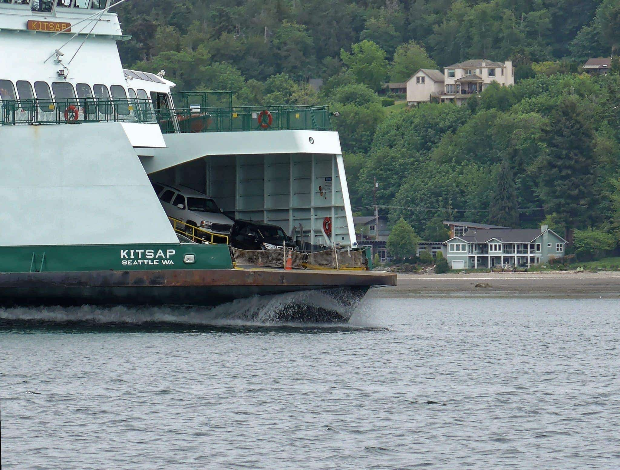 Washington State Ferry Kitsap and it's bow wake headed towards Bremerton