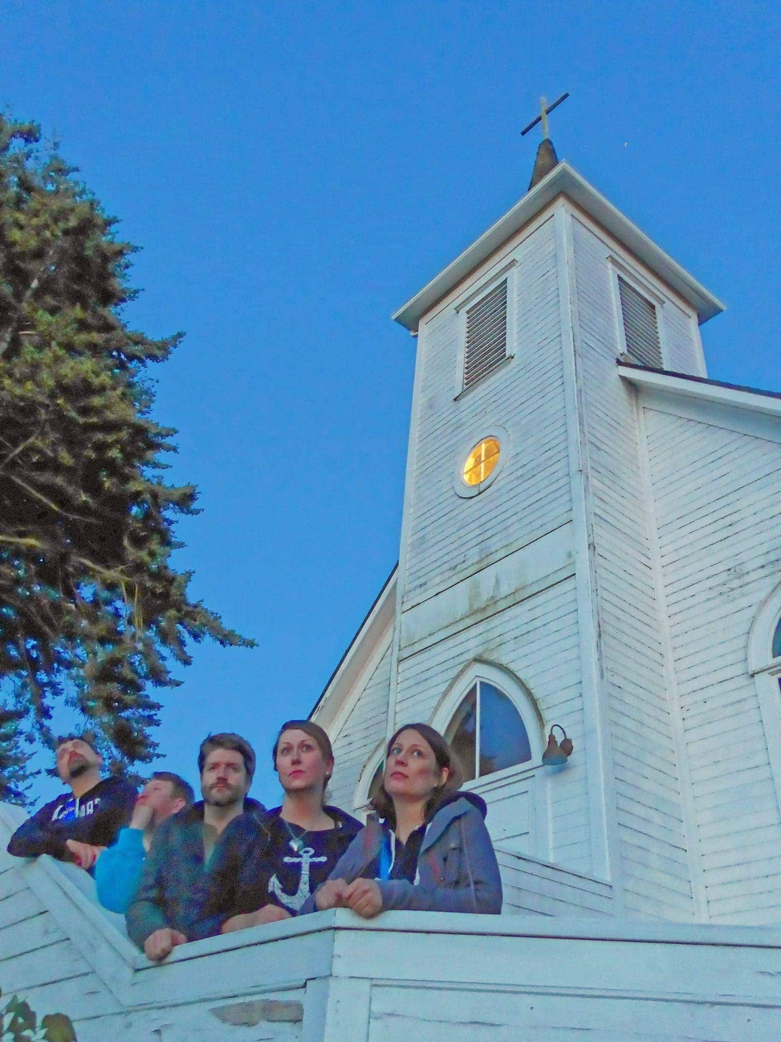 The gang posing for our 80's album cover in front of the Lummi Island Church