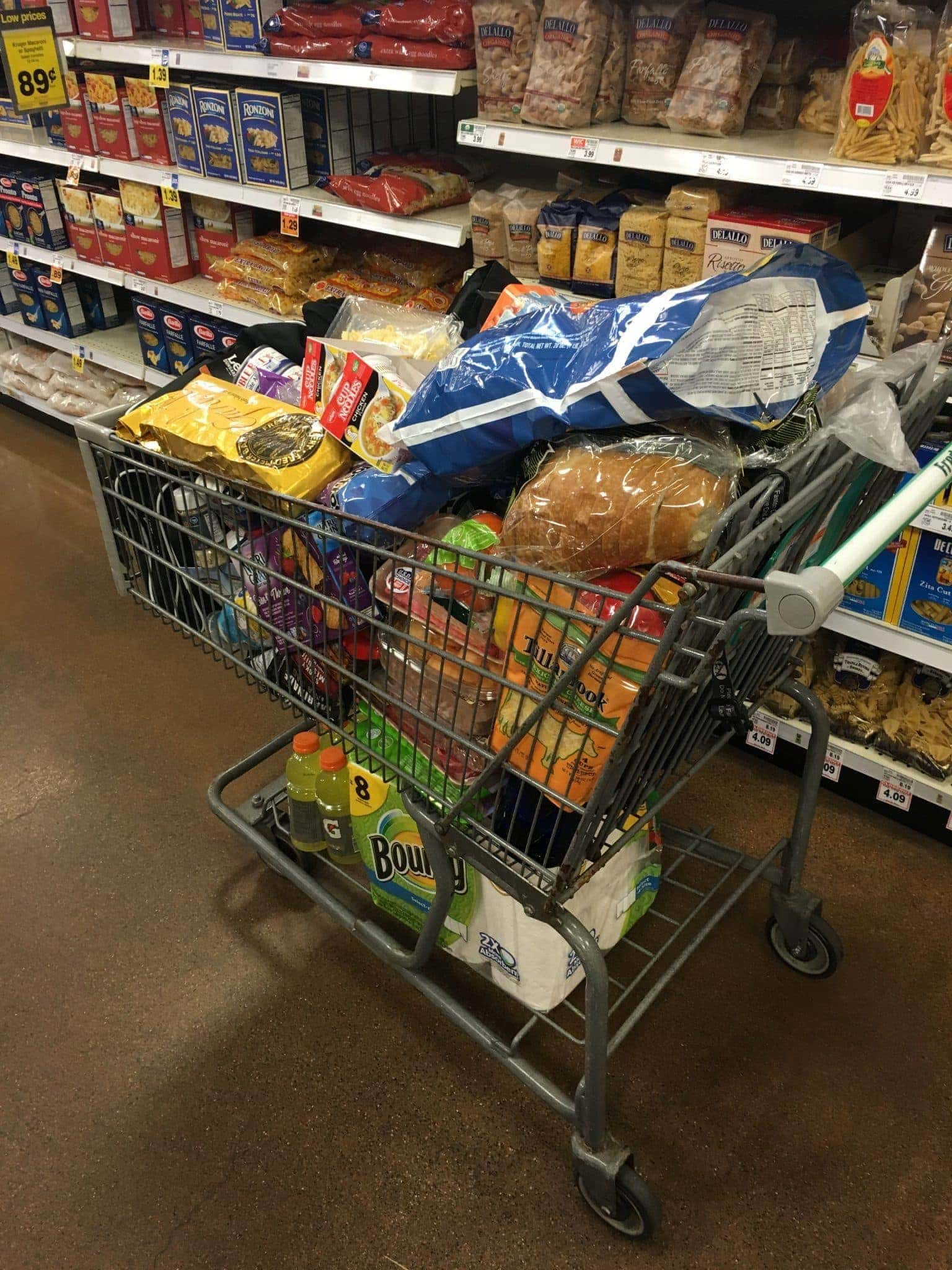 One grocery cart...