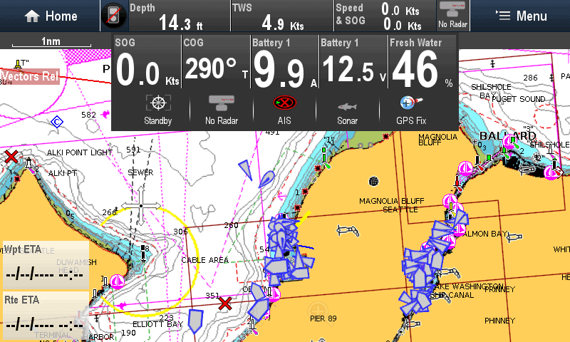 Raymarine chart plotter showing quick data panel overlay of water and battery details