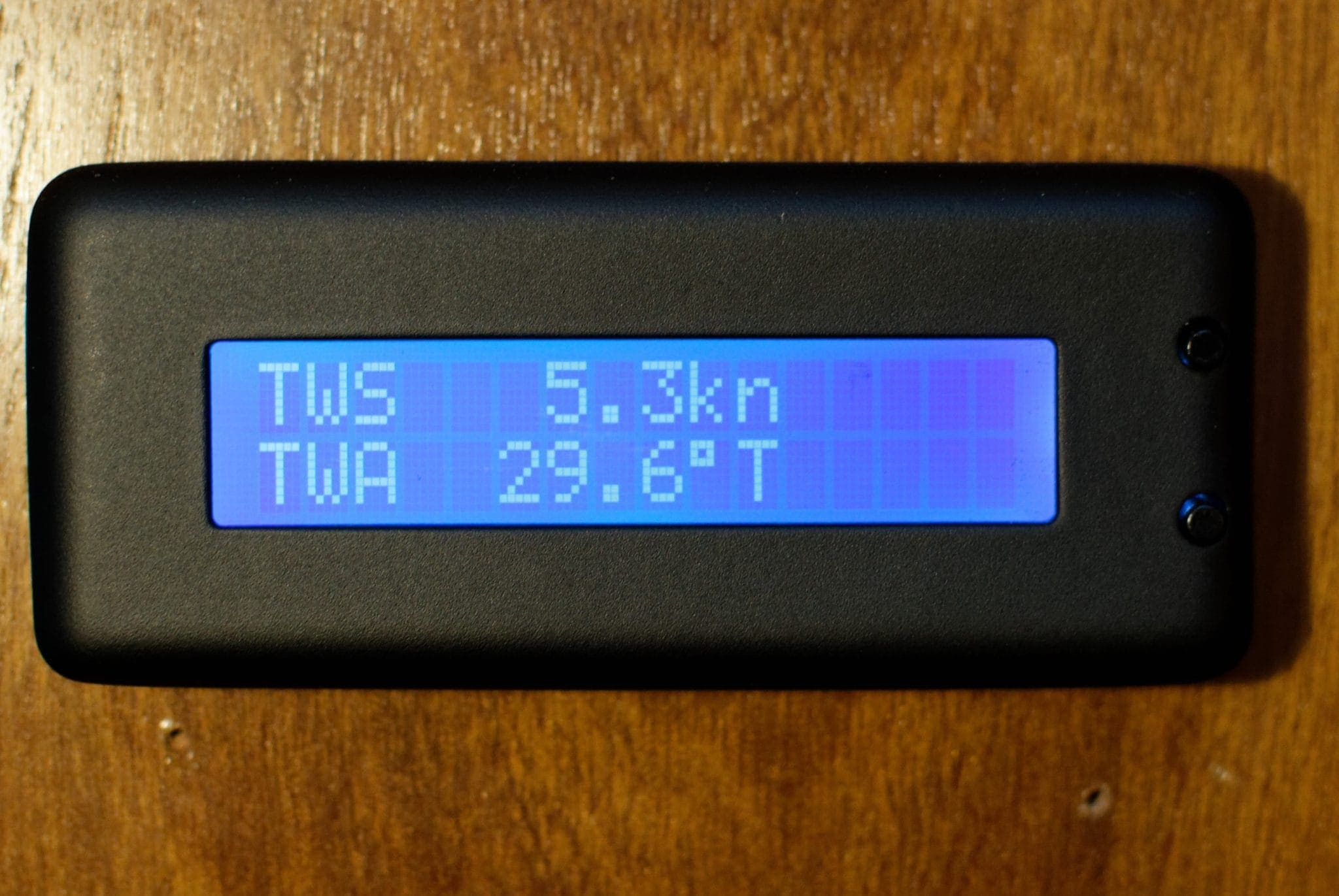Yacht Devices Text Display showing wind details