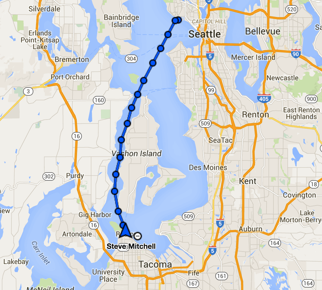 Our route from Seattle to Tacoma