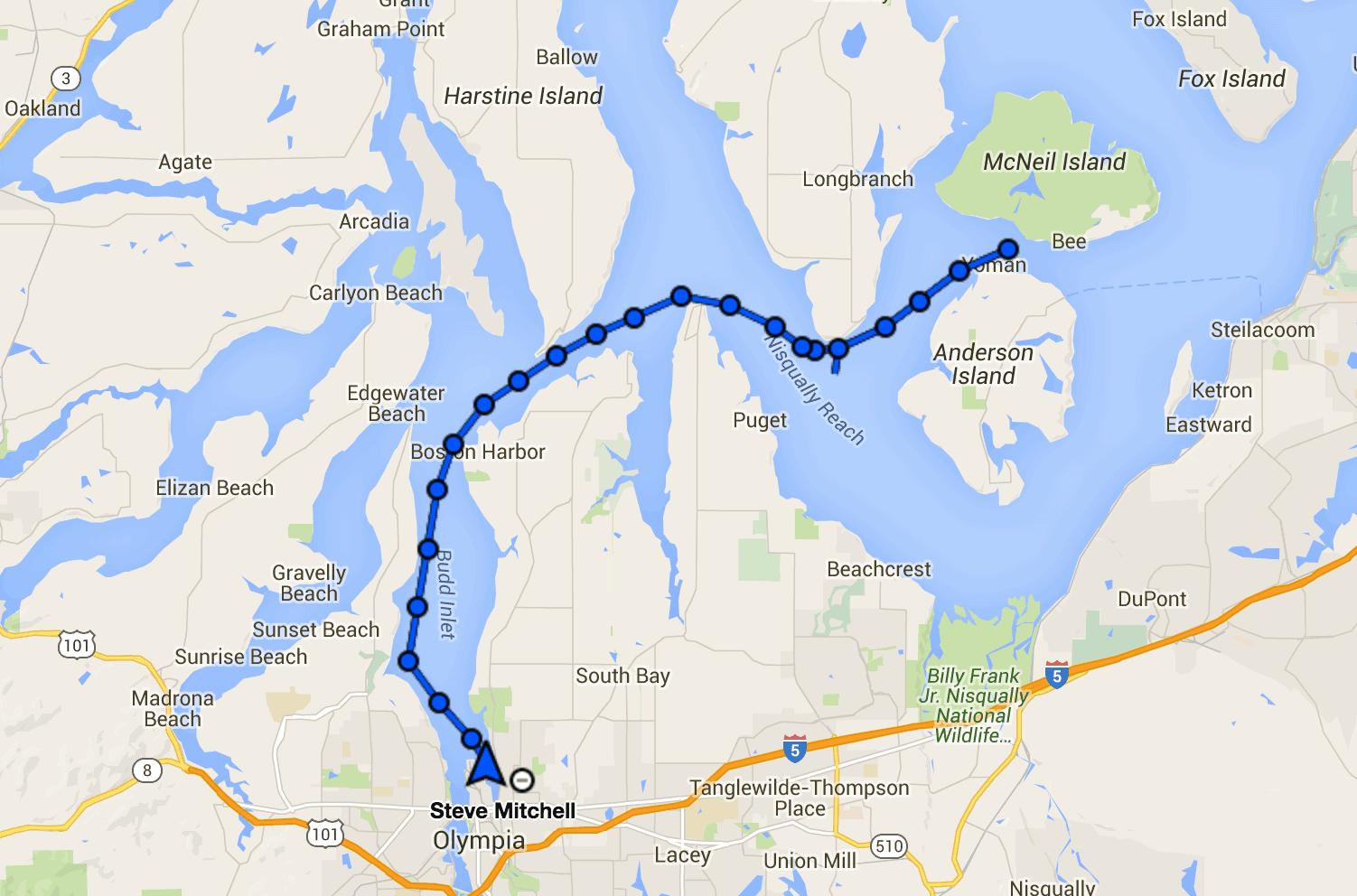 Eagle Island to Olympia track via DeLorme InReach Explorer