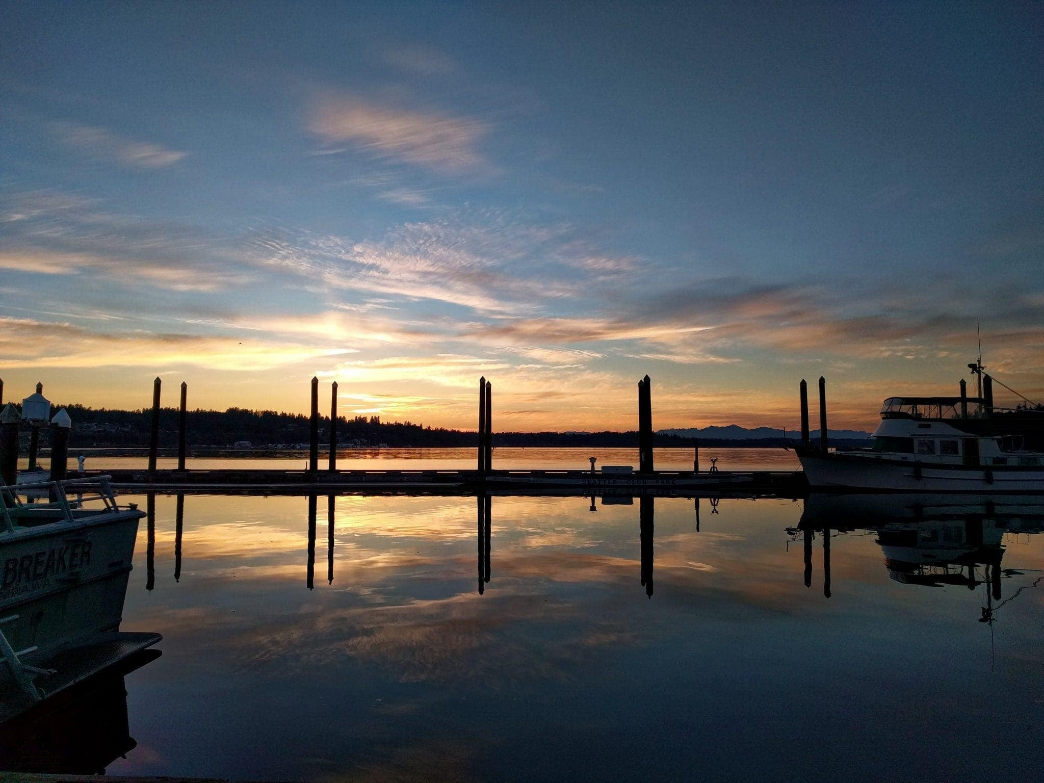 Sunset from Swantown guest docks