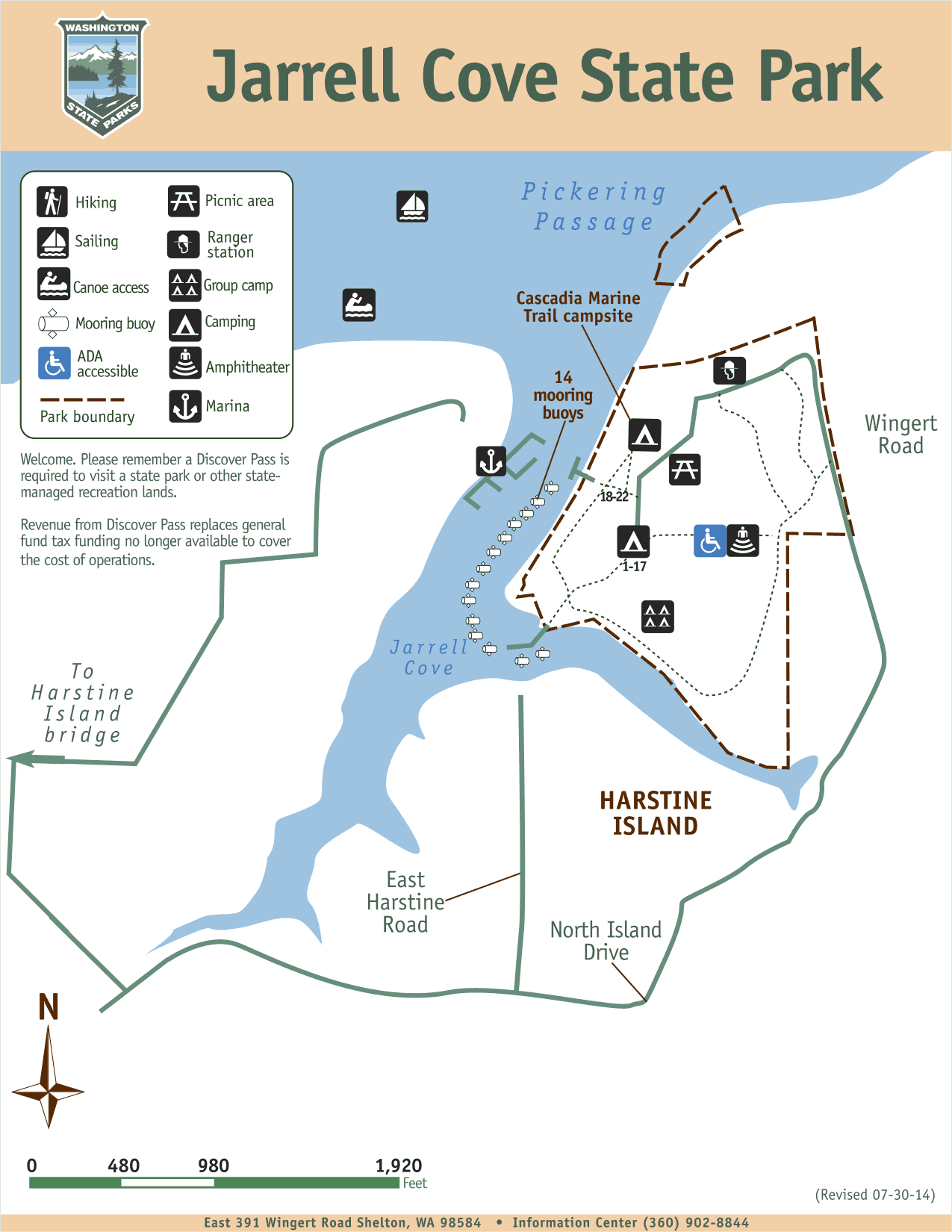 Jarrell Cove State Park map (courtesy Washington State Parks)