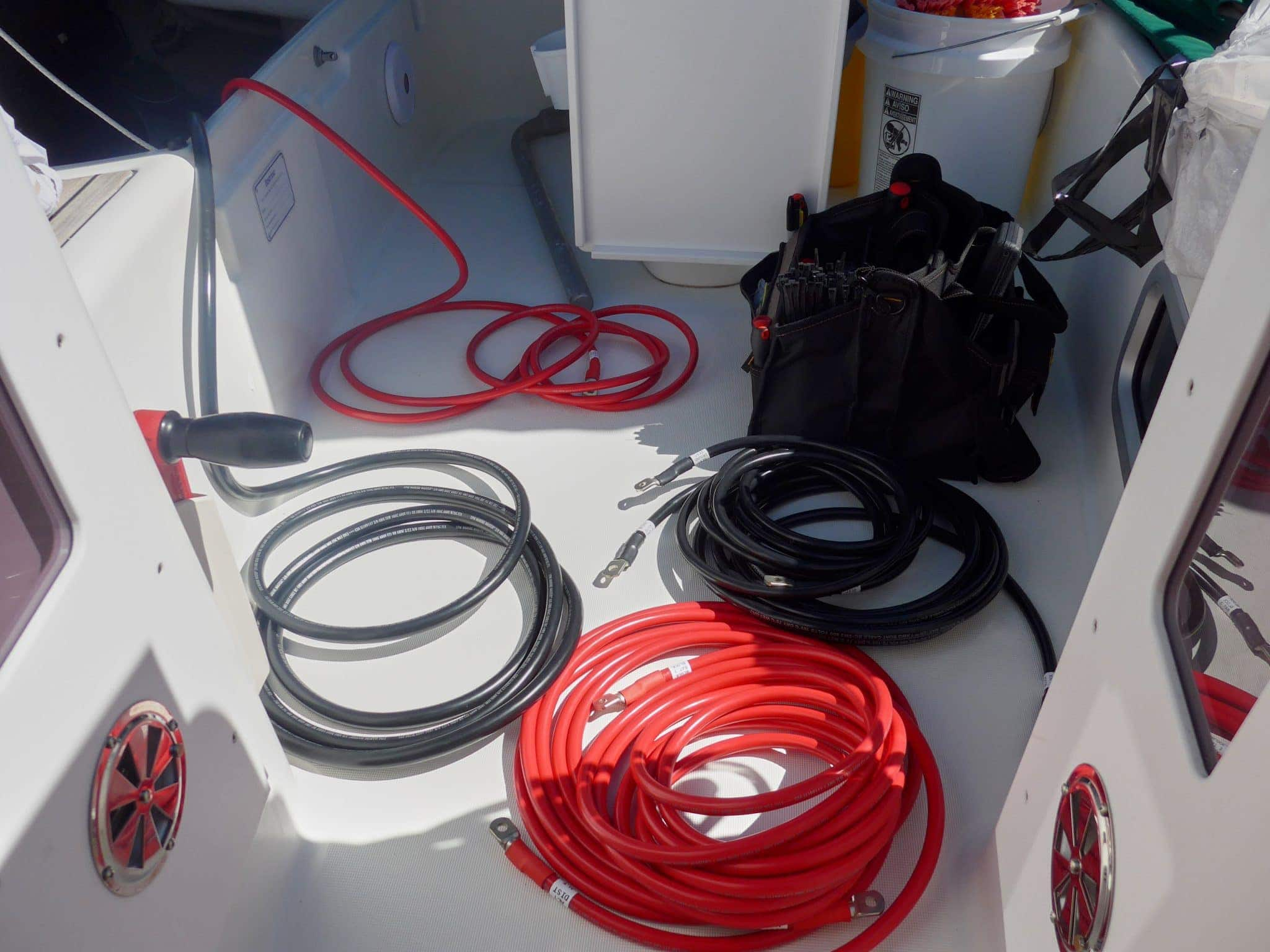 Staging wires in cockpit