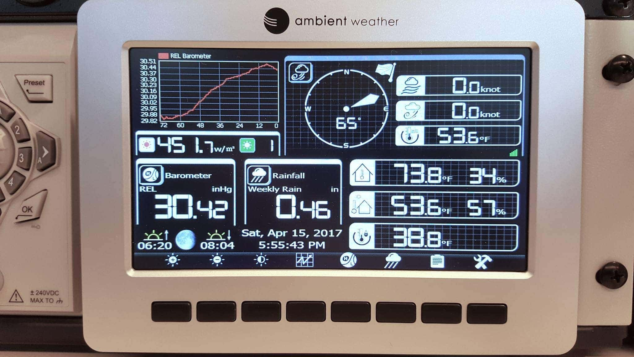 Weather on the boat via weeWX and Ambient