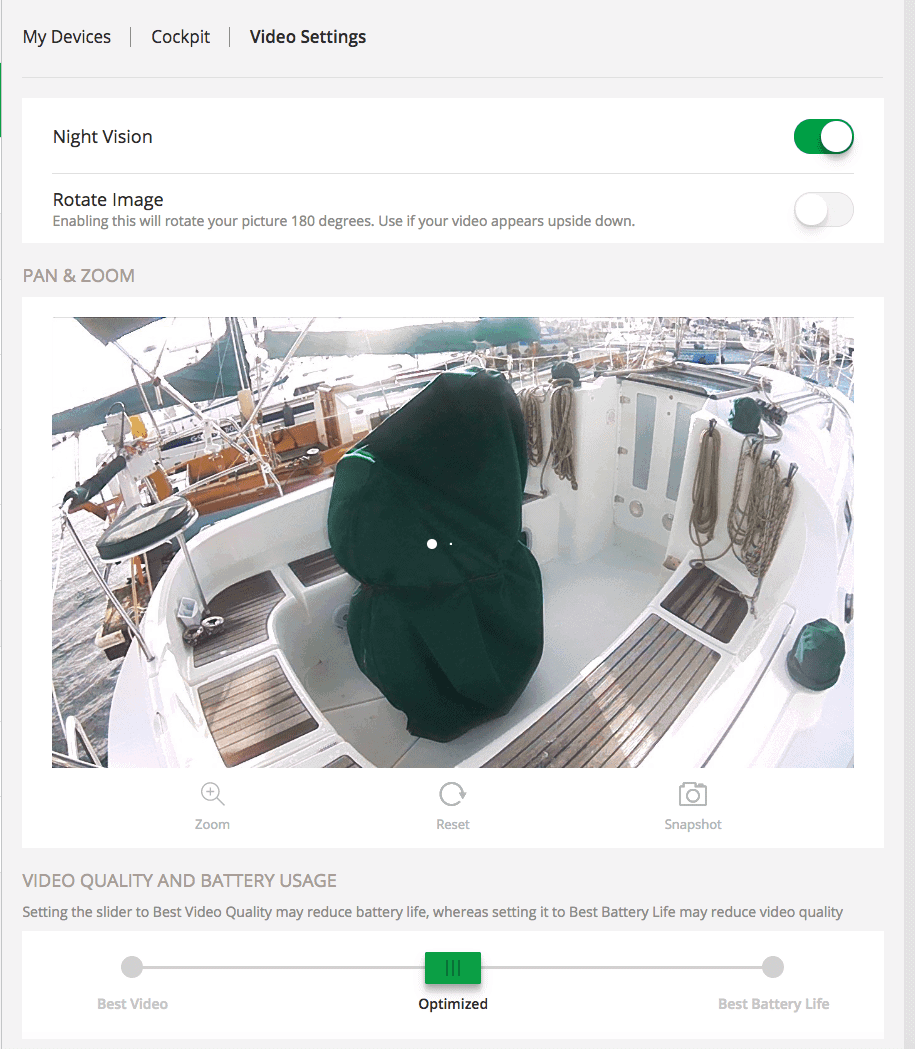 Arlo-on-sailboat-web-camera-detail-settings